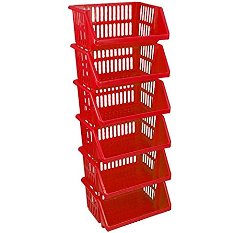 CrazyGadget® Multi Purpose Large Plastic Colour Storage Rack Stand Stacking Stackable Basket - Made In U.K. (6 Tiers,