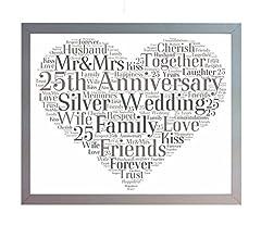 Idea Regalo - Oaktree Gifts - Cornice con stampa per il 25° anniversario di matrimonio, nozze d'argento, con parole in inglese e disegno di cuore, dimensione: A4 Ricordo per genitori, amici e familiari.