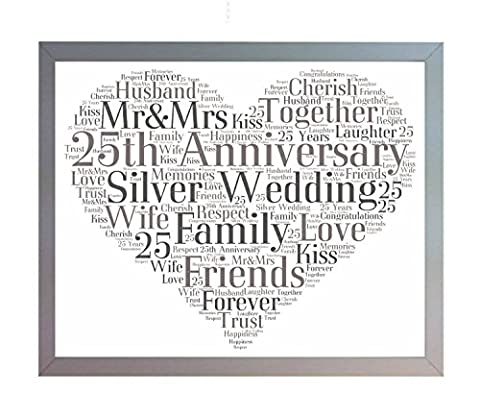 Framed 25th Silver Wedding Anniversary Heart Word Art A4 Photo