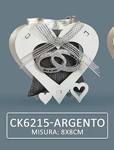 Confezione 16 pezzi, bomboniera scatola con fedi + sacchettino,(cm 8x8) x segnaposto, portaconfetti, confettata, nozze d'argento (ck6215arg)