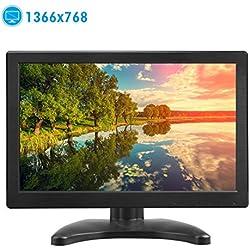 TOGUARD Moniteur 12 Pouces Portable Écran 1366 * 768 TFT LCD Couleur avec HDMI/VGA/MIC pour PC Caméra Raspberry 160º Double Enceintes