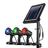 Ankway Projecteurs LED Solaires imperméables 3 GRB Lampes 18 LED,Eéglable IP68 Étanche Lampe Solaire Lumières Solaires pour Extérieur Jardin Piscine Étang Cour Mur Route Auto ON/OFF (Rouge Vert Bleu)
