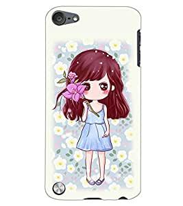 PrintDhaba CUTE GIRL D-6980 Back Case Cover for APPLE IPOD TOUCH 5 (Multi-Coloured)