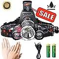 iSeaFly LED Stirnlampe Kopflampe, 4 Modi, Motion Sensor Switch, 90º Drehbar Kopf LED Scheinwerfer Taschenlampe, Wasserdicht Hardhat Kopfleuchte mit Akku