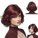 Cheveux Perruque Femme Courte Perruque Noire Africaine Vin Rouge Partielle Dans Les Cheveux Longs Perruque Poire Poire Scintillante JMQ...