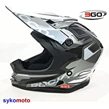 3GO XK188 ROCKY CUB NIÑOS MOTOCROSS MOTOCICLETA QUAD ATV DIRT BMX CASCO NEGRO GRIS (XL (53 - 54 CM))