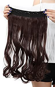 Fashion Long Curly Wavy One Piece 5Clips Clip in Hair Extension Extensions Half Full Head Womens Ladies 17 inches Medium Brown