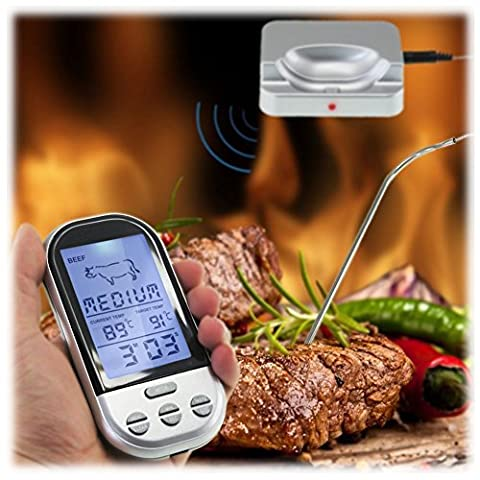 MAIKEHIGH Wireless Remote Digital Barbecue Thermometer, Monitor Meat Temperatures Cooking for BBQ, Smoker, Grill, Oven, Meat