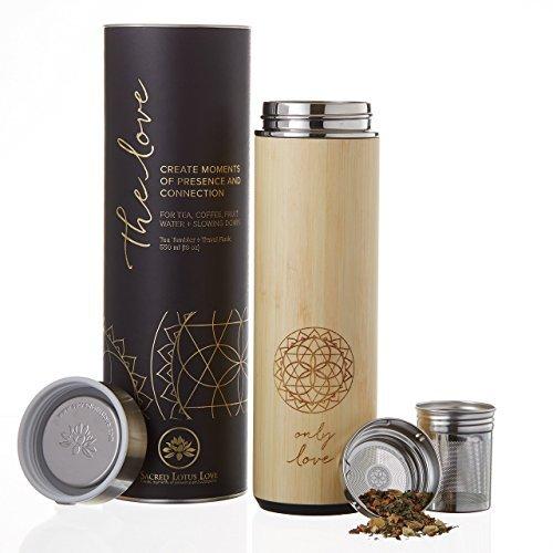 Liebe Bambus 510ml Thermosflasche Becher für Tee, Kaffee oder Obst Wasser. Vakuum versiegelt. Leckfrei. Schön verpackt, Gedicht + Geschenkkarte.