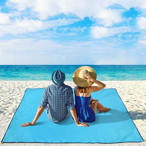 MOVTOTOP Stranddecke XL Picknickdecke, Picknickdecke wasserdichte Sandabweisende mit Nylon Notfall Poncho Funktion, Tragbare Campingdecke mit 6 Metallstangen für Strand, Outdoor, Wiese
