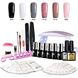 Modelones Gel Nail Starter Kit with UV Lamp, Mini LED Nail Dryer