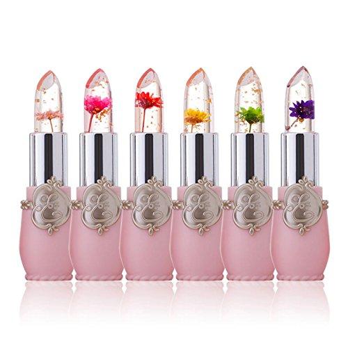 6 Pcs/Set Beauté Jelly Lipstick, Fleur Température Changement de couleur rouge à lèvres Waterproof Long Lasting Moisturizing Lip Balm Ange tentation Lip Gloss