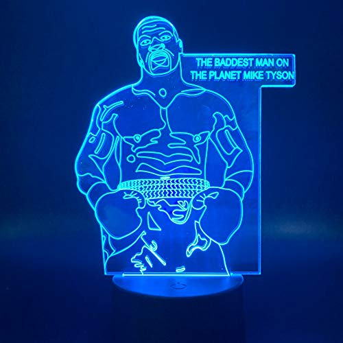 Il giocatore di boxe sportivo Mike Tyson figura conduce decorazione della stanza dell'ufficio atmosfera luce notturna comodino lampada 3d luce notturna regalo