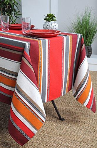 STOF Nappe enduite carrée avec rayures basques Zazpiak - rouge - 90% Coton - 10% Polyester - 150x150 cm