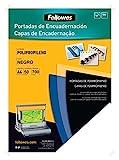 Fellowes 54775 - Portadas para encuadernar de polipropileno, A4, negro