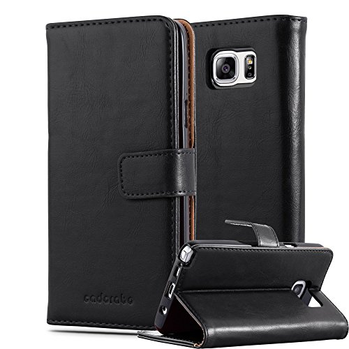 Preisvergleich Produktbild Cadorabo Hülle für Samsung Galaxy Note 5 - Hülle in Graphit SCHWARZ – Handyhülle im Luxury Design mit Kartenfach und Standfunktion - Case Cover Schutzhülle Etui Tasche Book