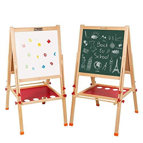"""Arkmiido Wooden Easel Board,3 in 1,whiteboard Chalkboard Blackboard for Kid,Height Adjustable,21.7""""x52.4"""",Drawing Board for Kids,Christmas Gifts"""