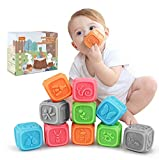 H-ONG Soft Baby Building Blocks for Toddlers,Teething Chewing Toys Educational Baby Bath Toys Play with Numbers, Shapes, Animals,Letter Insect for 0-3 Years