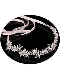 AmDxD Chapado en Plata Mujer Accesorios para el Cabello Boda Flor Oval Cristal Cintas para el Pelo Plata