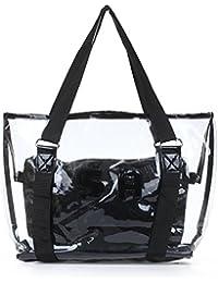 SODIAL(R) Juego 2pzs Bolso Bolsa de hombro Bolsa de mano para mujer Transparente PVC Negro Moda