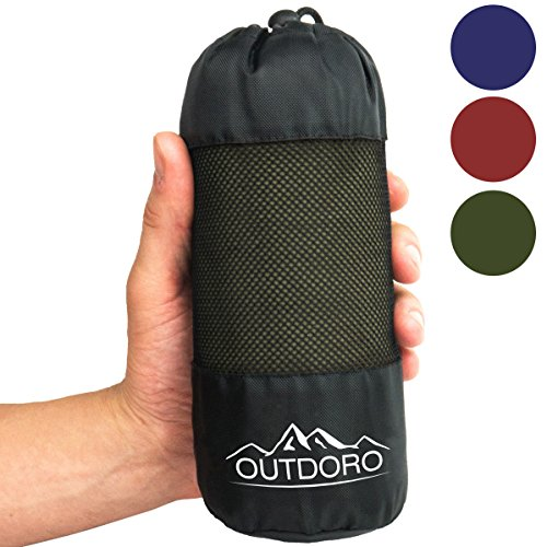 Outdoro Hüttenschlafsack, Ultra-Leichter Reise-Schlafsack - nur 350 g aus Reiner Baumwolle mit Kissen-Fach - dünn & klein - Inlett, Travel-Sheet -