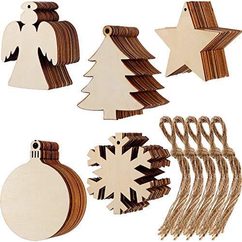 50 pezzi natale ornamenti in legno fiocco di neve angelo stella albero di natale dischi rotondi decorazioni da appendere abbellimenti con 50 pezzi stringhe