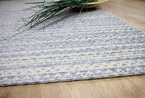 In & Outdoor Chenille Teppich Flachgewebe Scala Blau Streifen in 5 Größen - Chenille Streifen-teppich