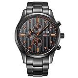 BUREI Reloj de Pulsera para Caballero con Cronógrafo Calendario Dial de Color Negro Cristal de Zafiro y Correa de Acero Inoxidable