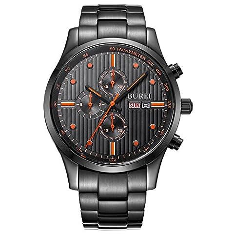 BUREI Herren Armbanduhr Chronographen Multi-funktion schwarzes Zifferblatt Armbanduhr mit Tag Datum Kalender Saphirglaslinse und Edelstahl Armband