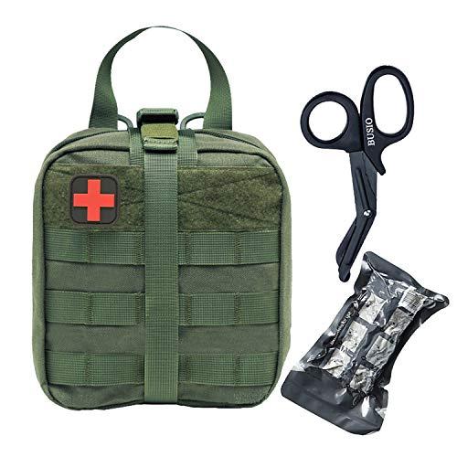 """BUSIO Kit Emergenza Tattica Militare Sopravvivenza,Borsa Pronto Soccorso Molle IFAK Rip-Away Pouch con Patch+ 6\"""" Bendare Israeliana+Forbici EMT Trauma Medico (Verde)"""
