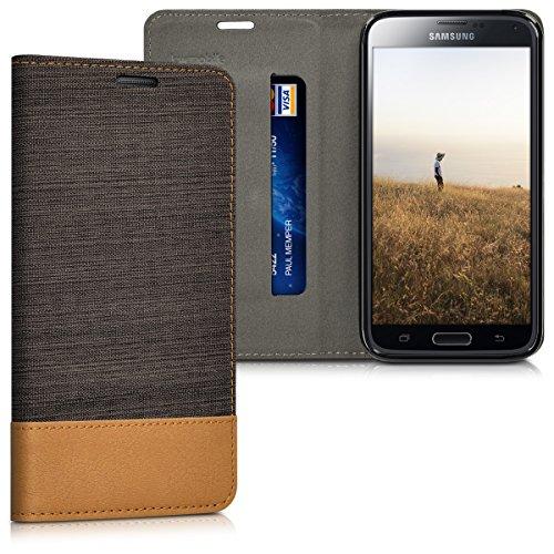kwmobile Funda para Samsung Galaxy S5 / S5 Neo / S5 LTE+ / S5 Duos   Case con tapa cover de tela con cuero sintético   Carcasa plegable antracita marrón