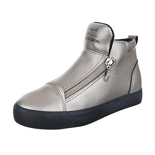 Ital-Design - Pantofole a Stivaletto Donna grigio argento
