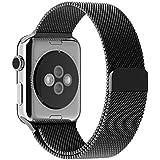 Apple Watch Armband, mit Einzigartige Magnet-Verschluss, JETech 42mm Apple Watch Milanaise Strap Armband Replacement Wrist Band für Apple Watch 42mm Alle Modelle Keine Schnalle Benötigt (Schwarz) - 2108