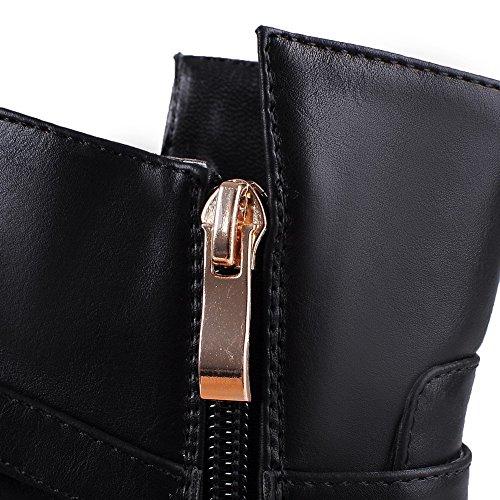 VogueZone009 Damen Niedrig-Spitze Reißverschluss Reißverschluss Hoher Absatz Stiefel Schwarz