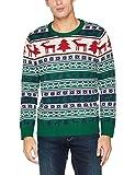 NIZZIN Unisex Weihnachtspullover ELM 6F0370-1, Gr. Large, Grün (Green 19-5420)