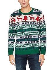 Idea Regalo - NIZZIN Elm, Felpa di Natale Unisex, Verde (Green 19-5420), X-Large