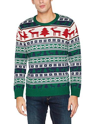 NIZZIN Unisex Weihnachtspullover Elm 6F0370 - 1, Gr. Large, Grün (Green 19-5420)