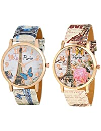 Maan International Stylish Paris Multicolor Designer Analogue Watches For Womens in Combo