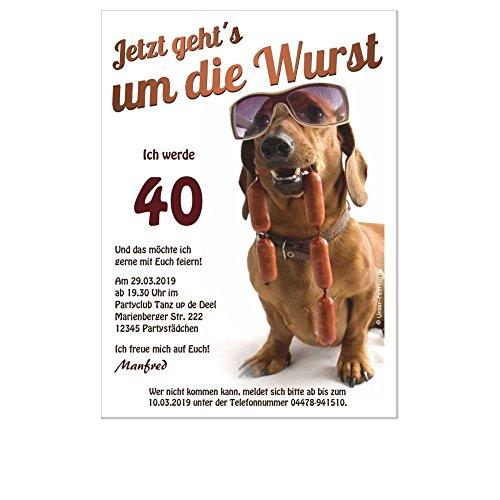 Originelle Einladung zur Geburtstagsfeier Witziger Spruch Hund mit Brille, 20 Karten - 17 x 12 cm