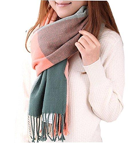 Kfnire sciarpe da donna, grande sciarpa calda invernale calda invernale del grid della sciarpa del plaid del plaid delle donne per l'inverno di autunno (rosa)