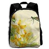 School Season Kids Backpack Travel Gear Daypack,Child Dragonfly and Golden Tulips Shoulder Bag