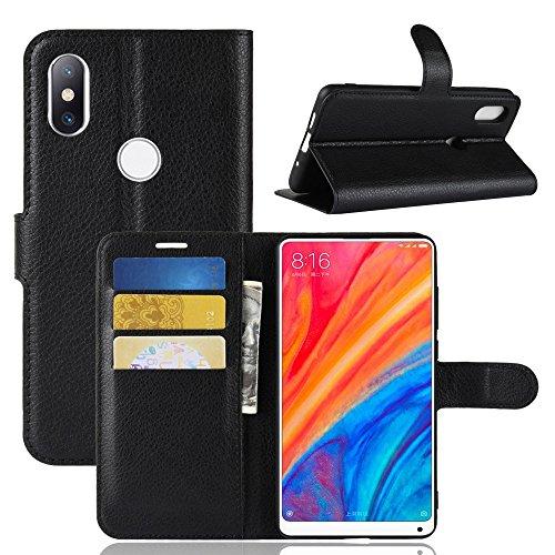 LAGUI Funda Xiaomi Mi Mix 2s, Carcasa Tipo Libro, Cubierta de ranuras para tarjetas, Caja de soporte horizontal y solapa con cierre magnético, Caso que protege todo el teléfono. negro