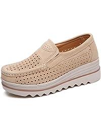 459807fc6fe5 HKR Women Platform Loafers Comfort Ladies Moccasins Wedges Slip On Suede  Wide Work Shoes