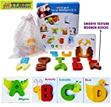 #6: TOY-STATION Wooden Puzzle Alphabet Learning Cards with Cartoon Creatures & Alphabet Blocks