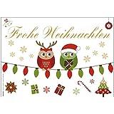 """12 Stück """"Eulen"""" Postkarten Weihnachtskarten """"Frohe Weihnachten"""" mit fröhlichen süßen Eulen und Geschenken - perfekt für Ihre Weihnachtsgrüße und Wünsche zu Weihnachten - Original ArtUp"""