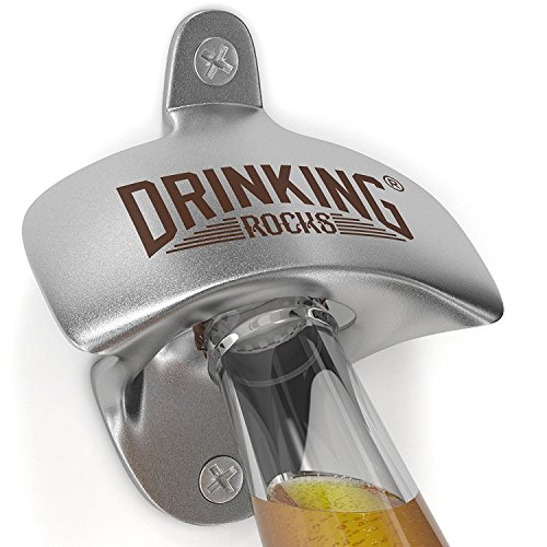 Flaschenöffner aus Eisen zur Wandmontage,öffnen Sie Ihr Bier wie ein Barkeeper, strapazierfähig, für Innen- und Außengebrauch, inklusive Schrauben