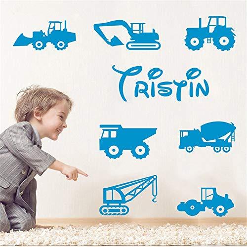 Wandaufkleber Personalisierte Benutzerdefinierte Namen Bau Bagger Aufkleber Aufkleber Farm Truck Trucks Kinder Für Kinderzimmer