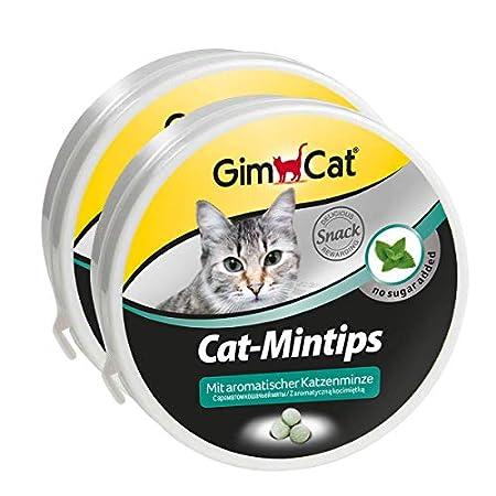 GimCat Cat-Mintips – Vitaminreicher Katzensnack mit aromatischer Katzenminze ohne Zuckerzusatz – 2 Dosen (2 x 50 g)