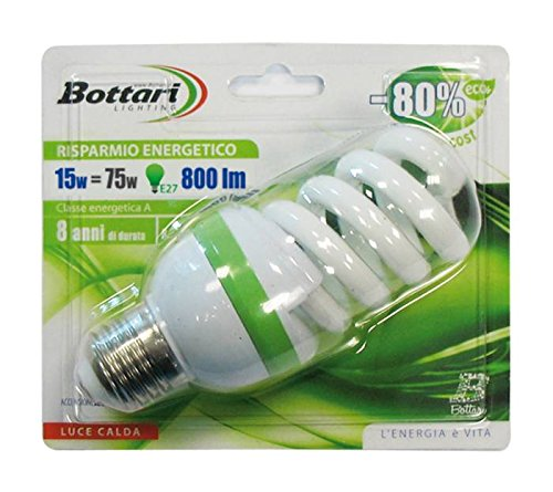 Bottari Lighting 97010 ECO Energiesparlampe, Typ Spiral, E27, 70 W, transparent, Set von 1 (Energiesparende Spiral)