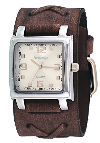 Nemesis #BFXB516S Men's Brown Wide Leather X Cuff Band Analog Silver Dial Watch